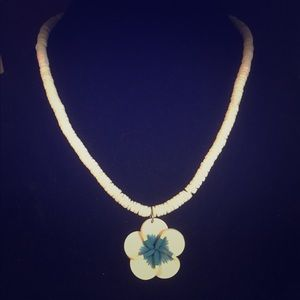 Puka shell and blue white flower necklace